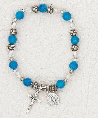 Crystal Dark Blue Stretch Bracelet with Painted Rose inside Crystal Bead