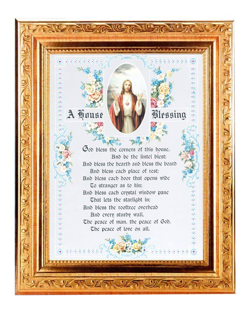 """8.25"""" x 10.25 House Blessing in a fine detailed scroll antique gold frame"""