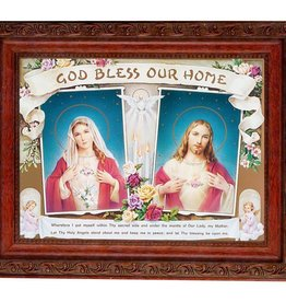 """8.25"""" x 10.25"""" Sacred Hearts in an Ornate Detailed Antique Mahogany Frame"""