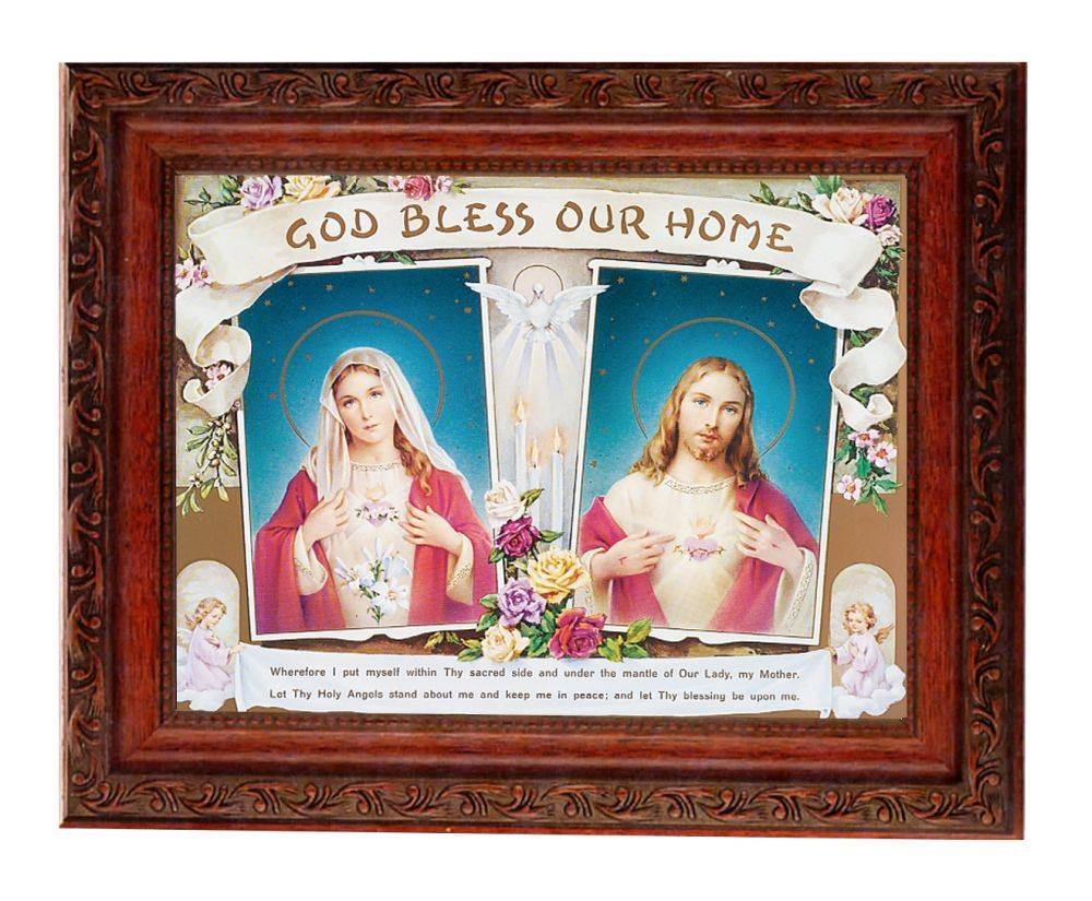 "8.25"" x 10.25"" Sacred Hearts in an Ornate Detailed Antique Mahogany Frame"