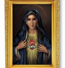 WJ Hirten 4X6 Immaculate Heart of Mary in antique gold frame