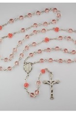 6MM PINK ROSE ROSARY