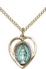 """Bliss Manufacturing Gold Filled Blue Miraculous Medal Heart on 18"""" Stainless Gold Chain"""