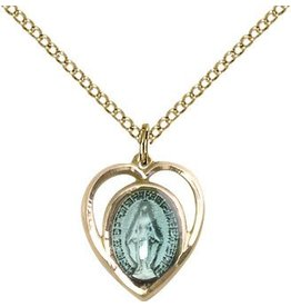 """Bliss Manufacturing Gold Filled Blue Miraculous Medal Heart Charm on 18"""" Chain Necklace"""