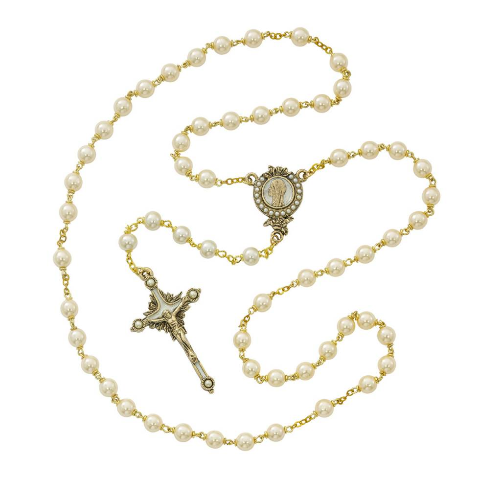 Gold Plated Pearls of Mary Rosary with Box