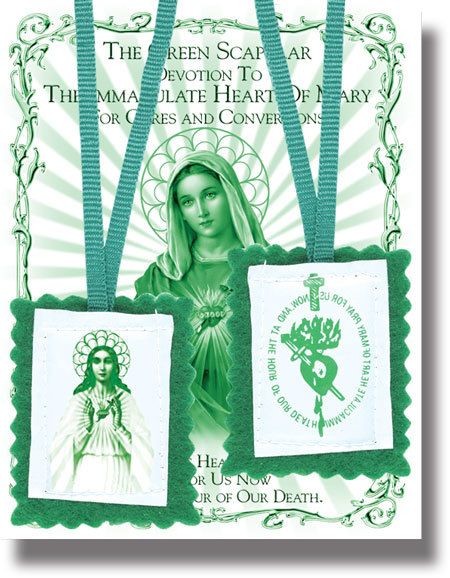 "2"" Green Scapular with Instruction Pamphlet"