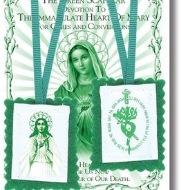 """2"""" Green Scapular with Instruction Pamphlet"""