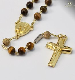 Ghirelli Tiger's Eye & Sterling Silver Precious Rosary, Yellow Gold Plated Finish