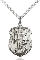 Bliss Manufacturing Sterling Silver St. Michael the Archangel Pendant on 20 inch Stainless Silver Chain