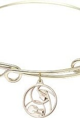 Bliss Manufacturing 8 1/2 inch Round Double Loop Bangle Bracelet with a Madonna and Child charm.