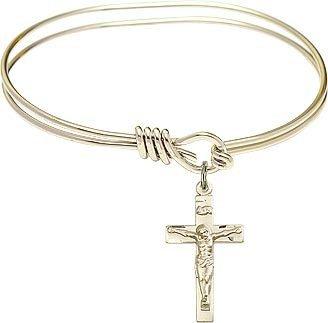 Crucifix Oval Bangle Bracelet 14K Gold Filled