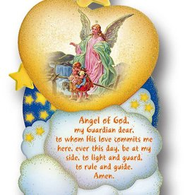 WJ Hirten Guardian Angel Plaque Wooden Wall Plaque With Gold Foil Accents
