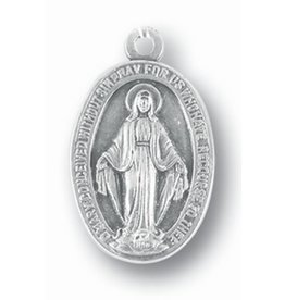 """1"""" Miraculous Medal Silver Oxidized"""