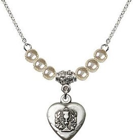 "Bliss Manufacturing 16"" Rhodium Curb Chain with 6 Faux Pearl beads and a Heart / Communion charm"