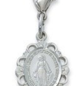 Miraculous Medal Clippable Charm silver color rhodium finish