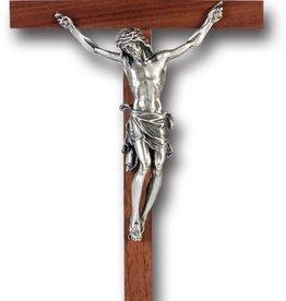"11"" Walnut Crucifix with Pewter Corpus"