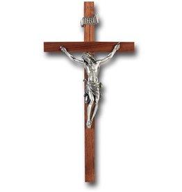 "WJ Hirten 11"" Walnut Crucifix with Pewter Corpus"