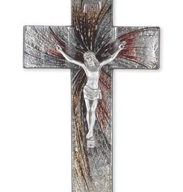 "WJ Hirten 10"" Shimmering Silver Glass Crucifix with Pewter Corpus"