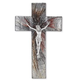 """WJ Hirten 10"""" Shimmering Silver Glass Crucifix with Pewter Corpus"""