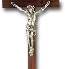 "WJ Hirten 9"" Walnut Cross with Antiqued Silver Plated Corpus"