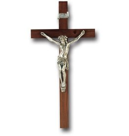 "WJ Hirten 9"" Walnut Cross with Antiqued Silver Plated Corpus"