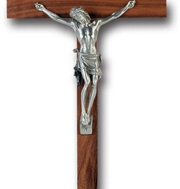 "WJ Hirten 10"" Walnut Crucifix with Pewter Corpus"