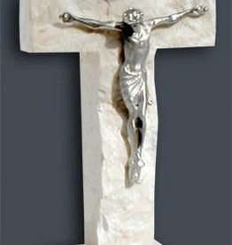 "Holy Land Stone 4.5"" Holy Land Stone Small Pewter Crucifix"