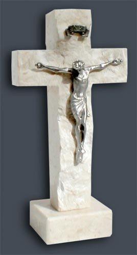"""Holy Land Stone 4.5"""" Holy Land Stone Small Pewter Crucifix"""