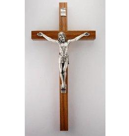 "WJ Hirten 8"" Walnut Wood Crucifix with Silver-toned Corpus"