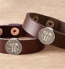 Christian Brands St. Benedict Brown Leather Bracelet