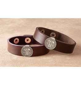 Christian Brands St. Benedict Brown Leather Bracelet