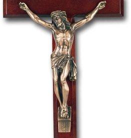 "WJ Hirten 13"" Cherry Wood Crucifix with Museum Gold Corpus"