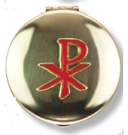 Religious Art Inc Brass Red Enamled Chi Rho Pyx (Size 3, 12-15 Hosts)
