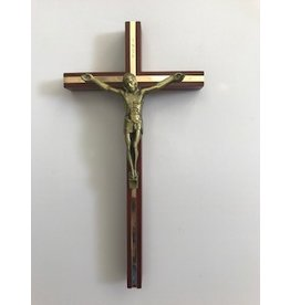 "James Brennan 10"" Wood Crucifix With Gold Inlay and Antique Gold Corpus"