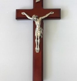 "WJ Hirten 11"" Crucifix Dark Cherry with Silver Corpus"