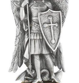 "WJ Hirten 4 1/2"" St. Michael Fine Pewter Statue on a Majestic Gold Tone Base"