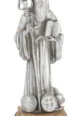 """4 1/2"""" St. Benedict Fine Pewter Statue on a Majestic Gold Tone Base"""