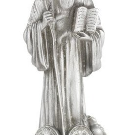 "4 1/2"" St. Benedict Fine Pewter Statue on a Majestic Gold Tone Base"