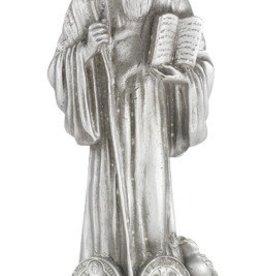 "WJ Hirten 4 1/2"" St. Benedict Fine Pewter Statue on a Majestic Gold Tone Base"