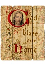 "God Bless Our Home 11 1/4X14"" Vintage Plaque With Hanger"
