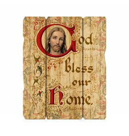 """God Bless Our Home 11 1/4X14"""" Vintage Plaque With Hanger"""