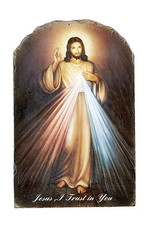 Divine Mercy Arched Tile Plaque with Stand