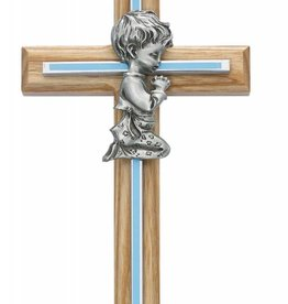 "McVan 7""  Oak and Blue Cross with Pewter Boy Praying"