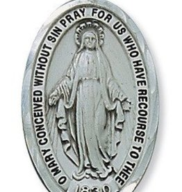 "McVan Plated Pewter Miraculous Medal with Diamond Cut Border 24"" Chain and Box"