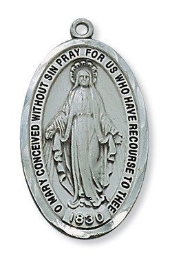 "McVan Antique Silver Miraculous Medal Pendant with 24"" Chain Necklace"
