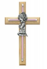 "7"" Oak and Pink Cross with Pewter Girl Praying"