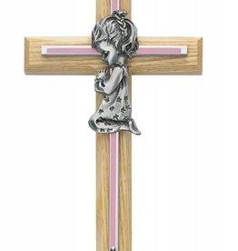 Praying Girl on a Wooden Cross