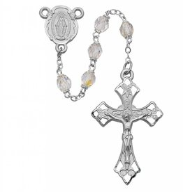 6mm Crystal Rosary W/ Rhodium