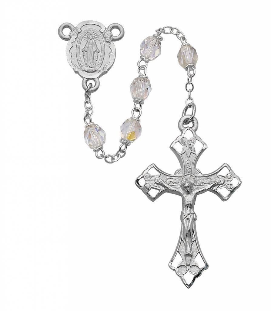 6mm Crystal Rosary W/ Rhodium