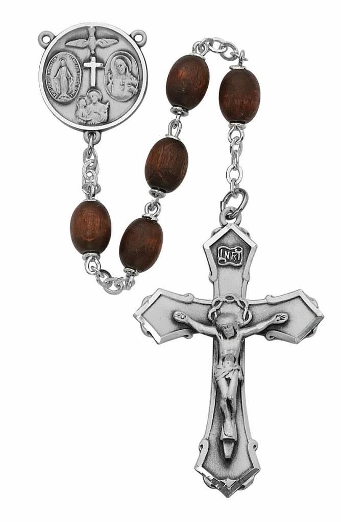 6x8 mm Oval Brown Wood Rosary
